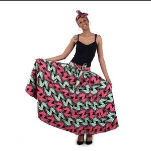 Dresses & Skirts - African Print Ankara Maxi Long Skirt - Pink & Gree
